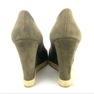 Gucci Shoes - Gucci GG Suede Peep-Toe Wedge